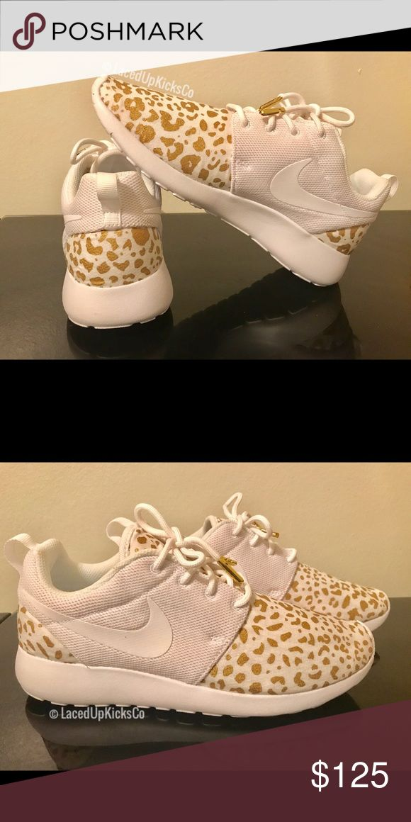 Custom Cheetah Print Nike Roshe Runs All white Nike Roshe Runs with white and gold cheetah print and matching gold aglets! These sneakers are from my shop named LacedUpKicksCo. Since each pair is custom made sales are final! These sneakers are for casual wear. Nike Shoes Sneakers