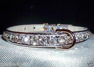 Rhinestone Bling Dog Pet Collars Crystal Jewel Silver 4 Sizes Metallic | eBay
