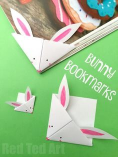 Easy Paper Bunny Bookmark Corner - adorable little spring craft