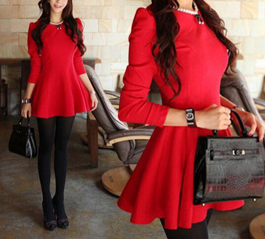 Slim round neck long-sleeved dress AX12517ax