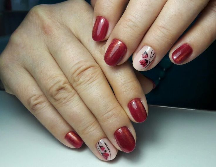 Nail art, gel painting, hand painting, flowers on nails, shellac