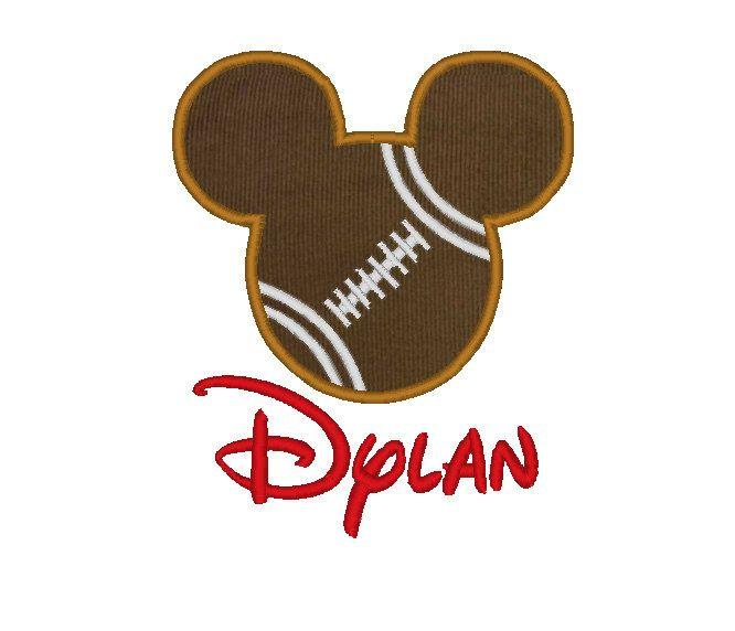 Mickey Mouse Football Appliquéd Shirt with Monogram - Fully Customizable. $22.00, via Etsy.