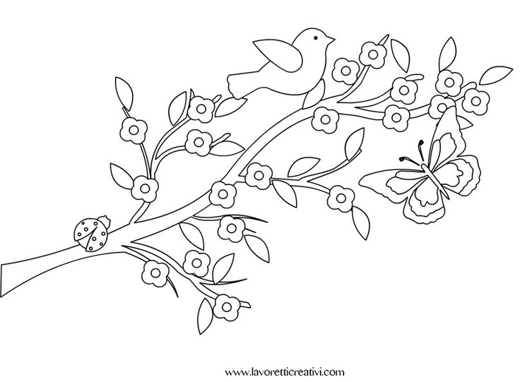 Ramo di pesco con coccinella e farfalla. Idea da tenere presente per il cartellone di primavera. DECORAZIONI PRIMAVERA Paesaggio primaverile Materiale: car