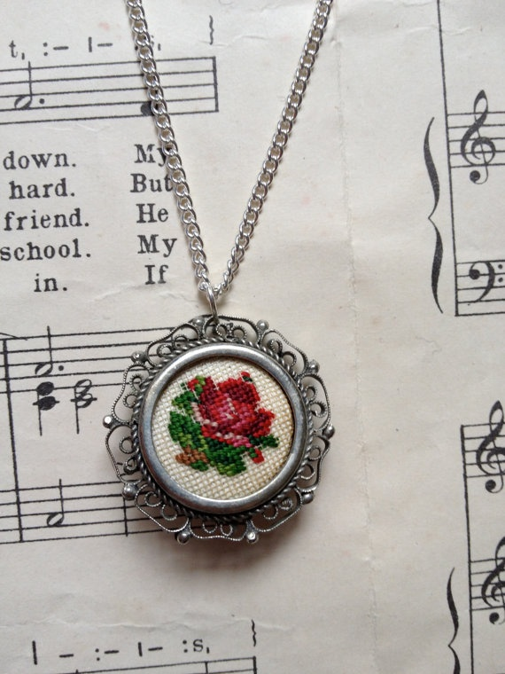 Vintage Upcycled Embroidered Cross Stitch Rose by robbiesgirlshop, $15.60