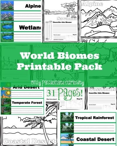 Only Passionate Curiosity has a FREE World Biomes Printable Pack. This pack includesread and write word wall cards, coloring for littl