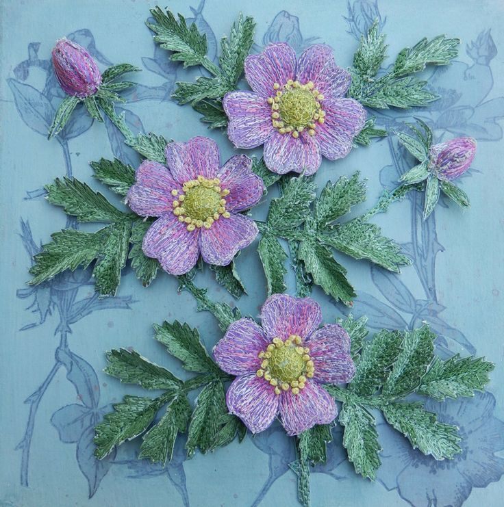 Botanical embroidery, textile art, 'Rosa Rugosa', 3d Assemblage, by Corinne Young