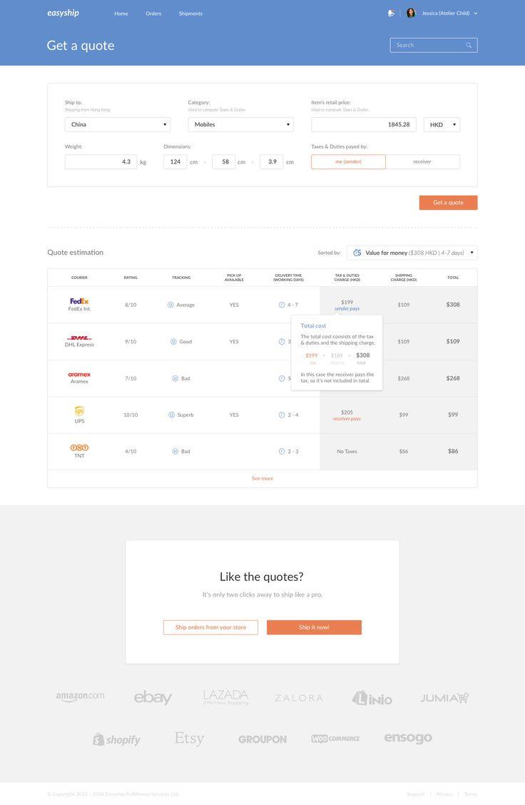 Easyship dashboard – User interface by Maciej Jasiński