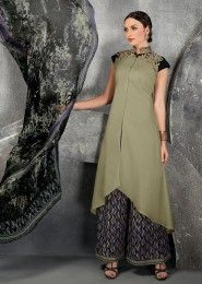 Casual Wear Green Cotton Embroidered Work Plazzo