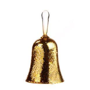 Zlatý závěsný zvonek 13 cm skleněný