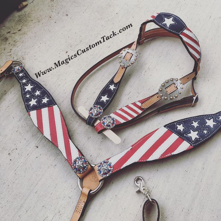 Magics Custom Tack  Handmade in American Tack Set. Patriotic red white and blue Stars and Stripes horse tack  Www.magicscustomtack.com