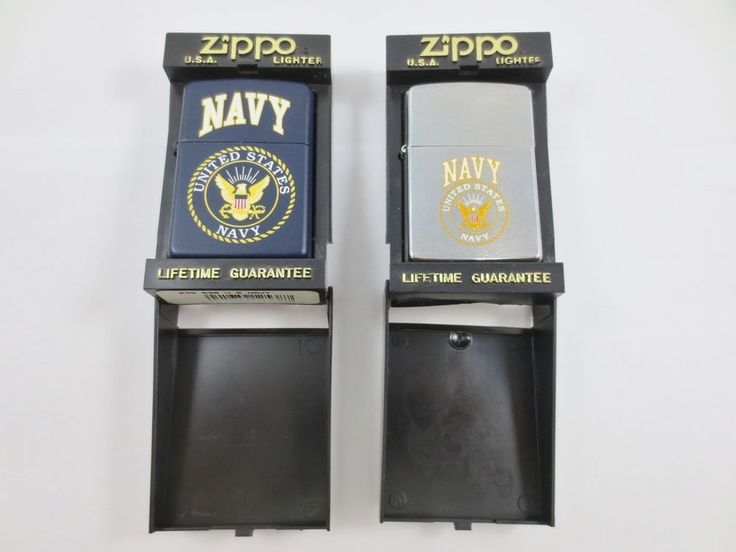 x2 ZIPPO USA Cigarette Lighter New Old Stock w Case USA NAVY J XI+XII 239-538