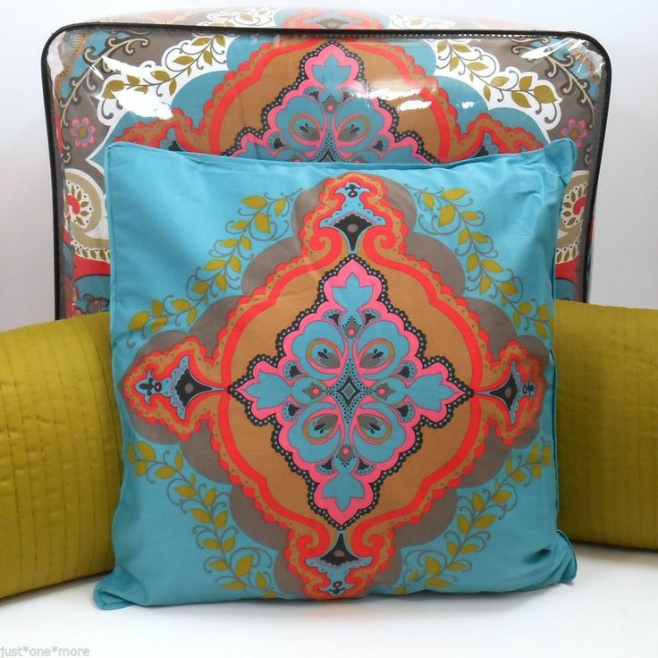 MAX STUDIO MOROCCAN 6pc QUEEN COMFORTER SET w/PILLOWS! AQUA GREEN RED PINK GRAY House ...