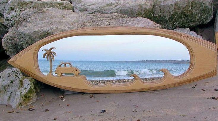 Espelho na prancha de surf