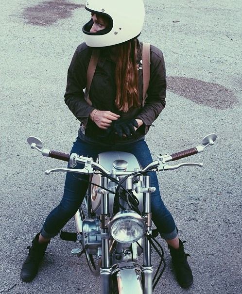 Biker girl. Better to put the hair in a braid or somefin tho, it gets impossibly tangled otherwise