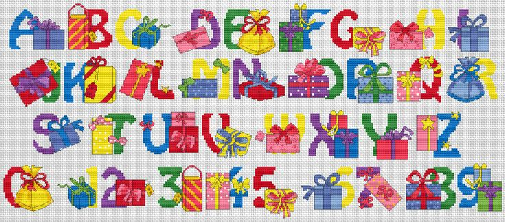 Cross stitch chart from http://www.jbcrossstitch.com/alphabets/301-gifts-alphabet.html