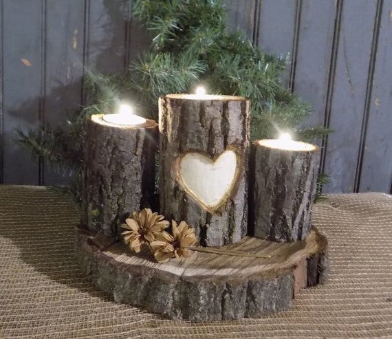 Personalized Log Candle Holder   Rustic Decor   Primitive Decor   Rustic  Valentines Day Gift