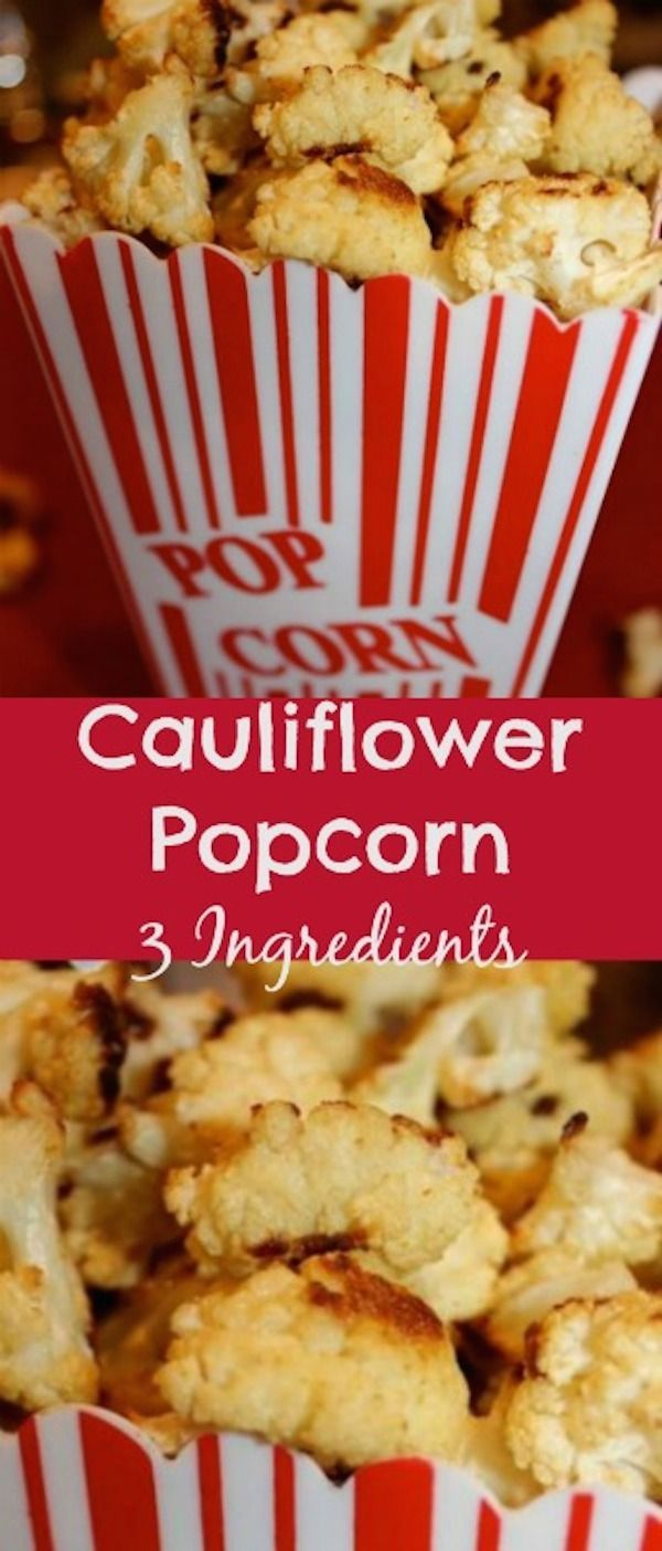 This Easy Super Healthy Cauliflower Popcorn recipe is simply delicious and great for the entire family. It looks like popcorn but it is actually cauliflower! People who do not like cauliflower change their minds after this recipe. Who wouldn't? It is so tasty,  healthier than regular popcorn and you get added health benefits. #popcorn #cauliflower #recipe #3ingredients #easy #glutenfree  via @creativehealthyfamily