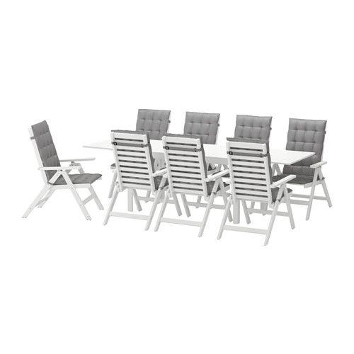 IKEA - ÄPPLARÖ, Table+8 chaises doss régl, ext, Äpplarö blanc/Hållö gris, , Comme les rabats peuvent être pliés et retirés, vous pouvez facilement ajuster la taille de la table à vos besoins.Trou au milieu du plateau de table pour maintenir un parasol.Afin que notre mobilier d'extérieur soit aussi solide et résistant à la décomposition que possible nous utilisons le duramen, la partie la plus dense au centre du tronc d'arbre.Pour accroître sa résistance et conserver so...