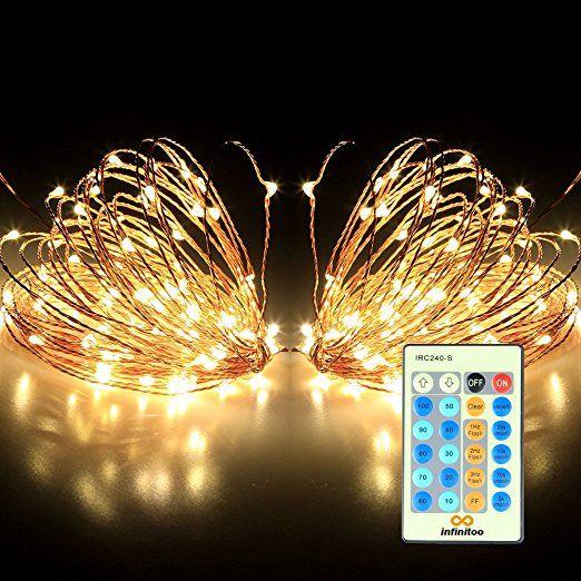 infinitoo LED Lichterkette, 10 Meter 100 LED Kupferdraht Lichterkette Warmweiß mit Fernbedienung, Wasserdicht Sternenhimmel-Lichterkette, Wünderschöne-Deko für Weihnachten, Hochzeit, Party, Zuhause sowie Garten, Balkon, Terrasse, Fenster, Treppe, Bar, etc