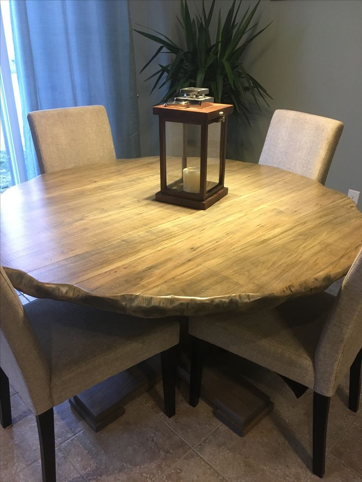 Solid Ambrosia Maple Table with Antique Grey stain and Distressed Edges