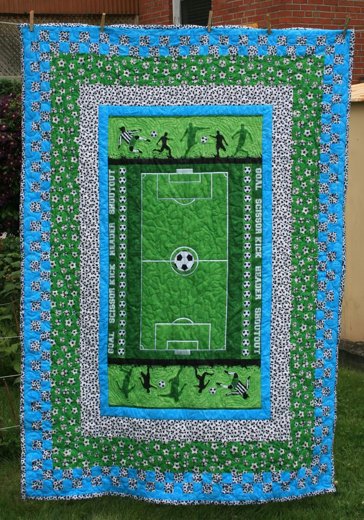 Qbyr A Soccer Sports Panel Quilt In Teal Green Black