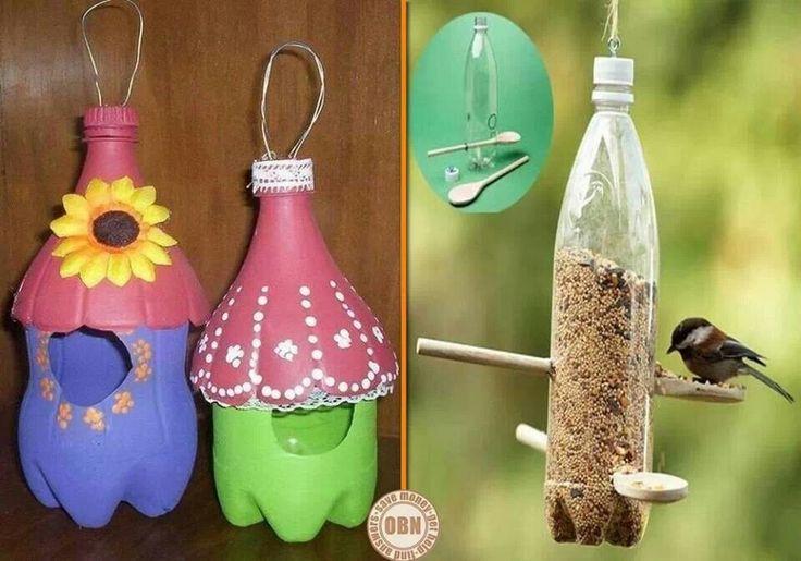 Plastic pop bottle bird feeders children stuff to try for How to make birdhouses out of plastic bottles