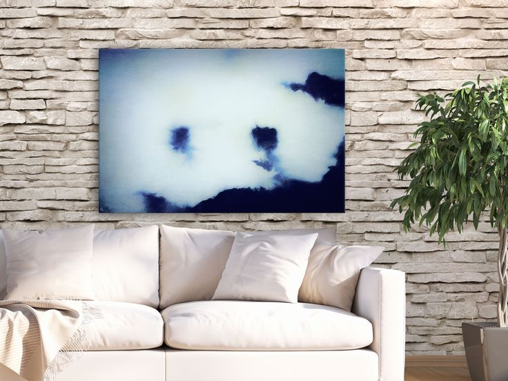 Create a  mesmerizing focal point! Blue modern canvas print by FraBor Art.