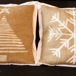 Burlap Holiday Pillows.  This is totally what I've been looking for!  ...or something like that in a frame.  Love.