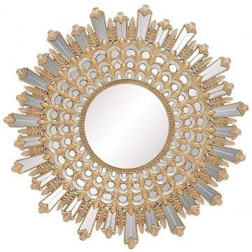 salinas sunburst mirror round mirror decorative wall mirrors ornate mirrors homedecorators - Decorative Wall Mirrors