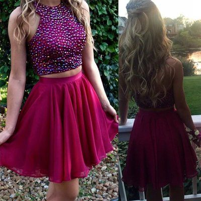 Two Pieces Homecoming Dresses Short Party Dress for Prom pst1347. winter formal dresses