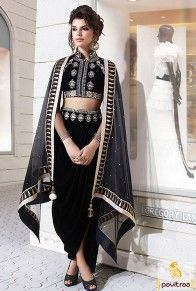 Exclusive Indian modern girls wear bold black color party wear dhoti style salwar kameez online collection with affordable price and free home delivery service across India. #salwarkameez #dhotistylesalwarkameez #dhotisalwarsuitdesign