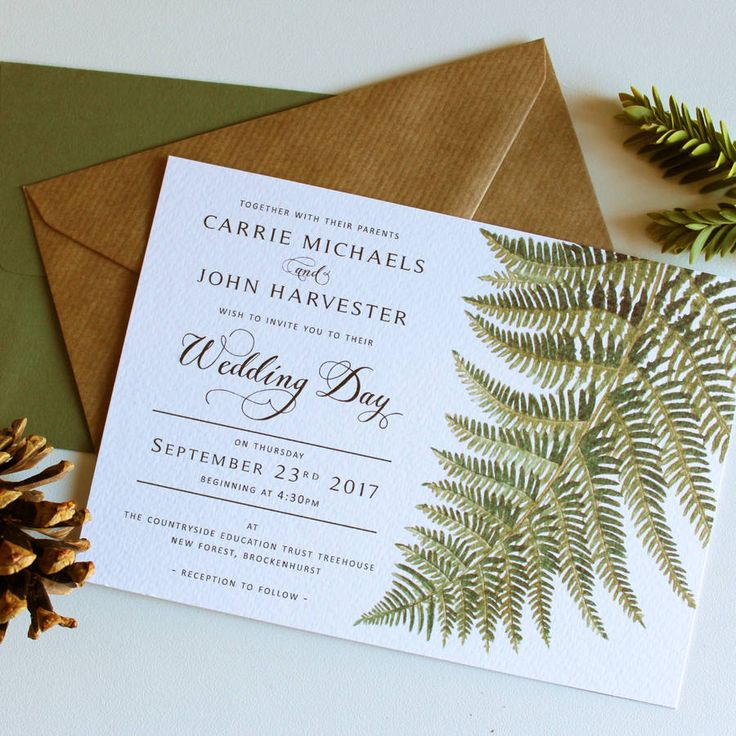 Forest Green Botanical Wedding Invitation Suite