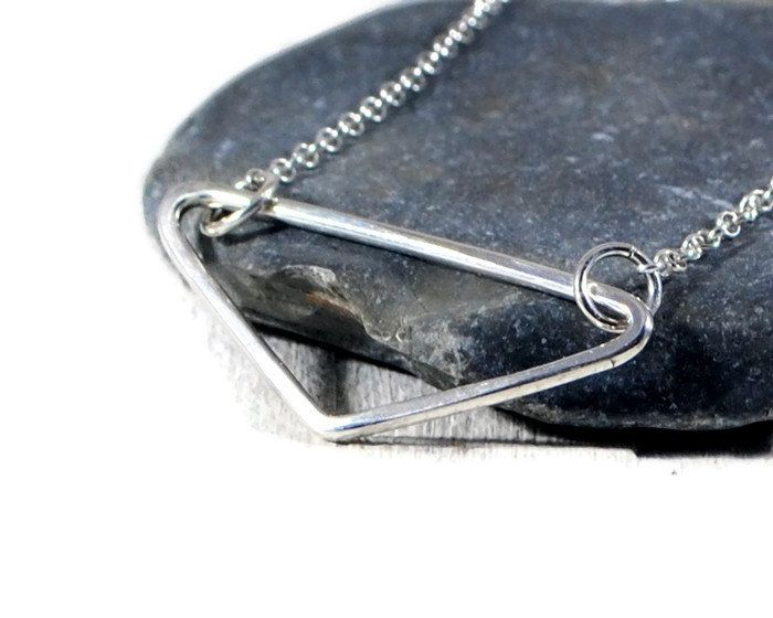Triangle Sterling Silver Necklace. Open Triangle Pendant. Geometric V Necklace. Geometric  Layered Jewelry. Minimalist Jewelry By GSminimal