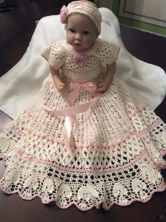Crochet yoked baby dress and headband christening by EmporiumHouse 100.00
