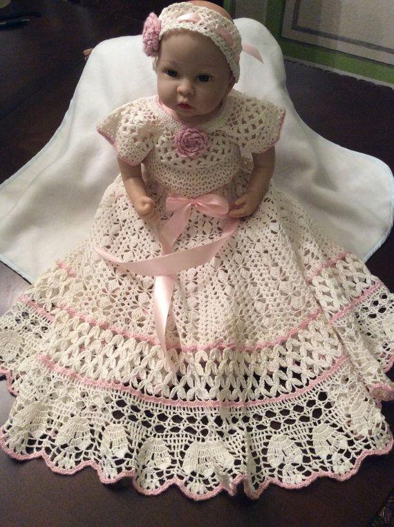 Hand Crochet yoked baby dress and headband, christening dress, baptism gown…