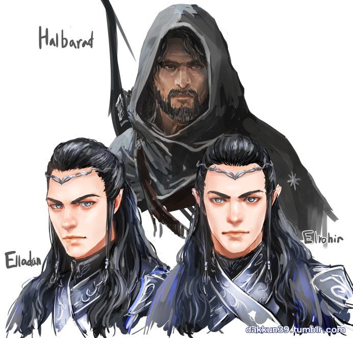 Halbard, Elladan and Elrohir