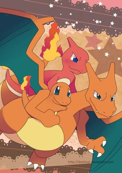 #Charizard #Charmander and #Charmeleon by Crystal Ribbon, #Pokemon Dungeon fan artist of the month May 2017.