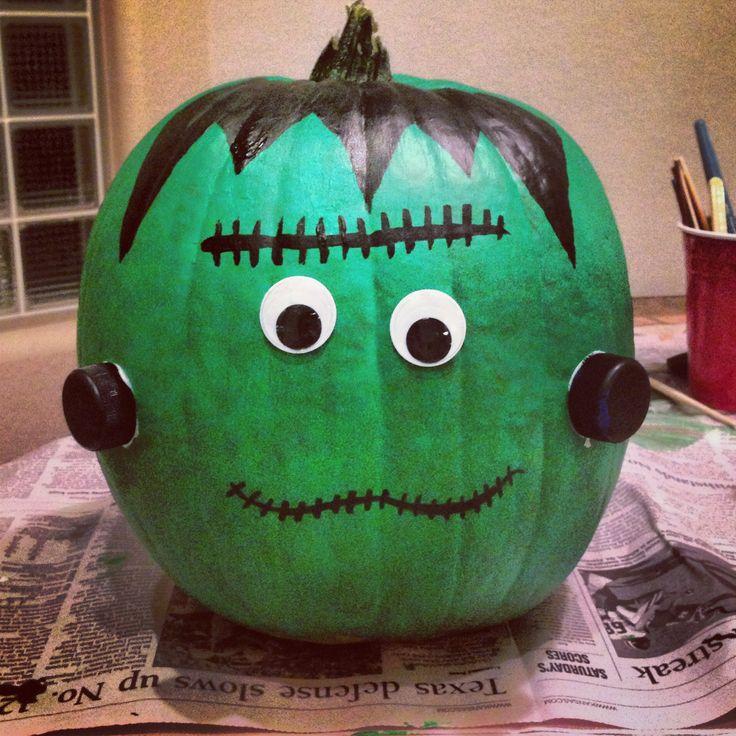 Frankenstein halloween pumpkin.