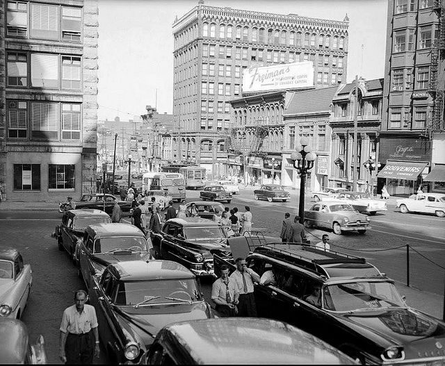 Taken from the Chateau Laurier looking east on Rideau St. June 1957  Ottawa, ON