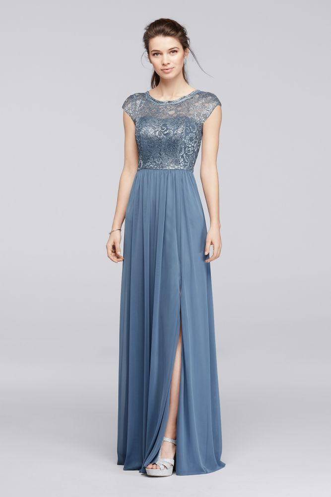 Extra Length Lace Long Metallic Bridesmaid Dress with Ribbon Waist - Steel Blue Metallic, 24