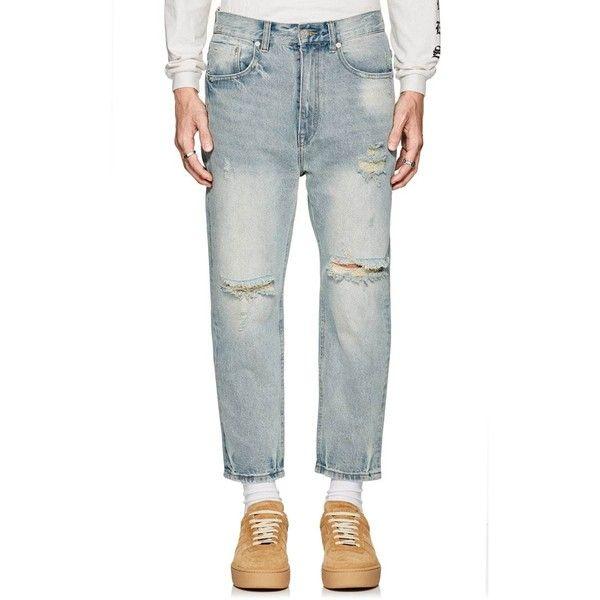 Stampd Men's 010 Distressed Crop Jeans (2.824.285 IDR) ❤ liked on Polyvore featuring men's fashion, men's clothing, men's jeans, light blue, mens wide leg jeans, mens light blue jeans, mens straight jeans, mens distressed jeans and mens faded jeans
