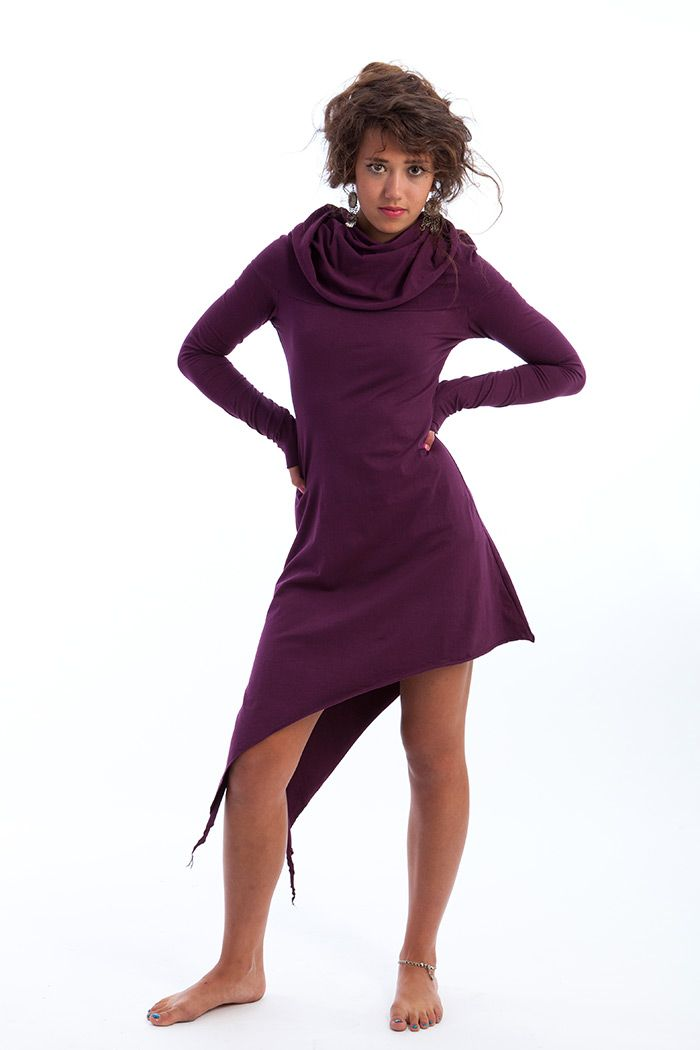Pixie dress with large neck / hood