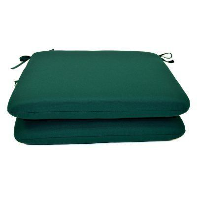 Casual Cushion Sunbrella Solid Color 20 x 18 in. Outdoor Seat Pad - Set of 2 Forest Green - DS2801-3013 2PK