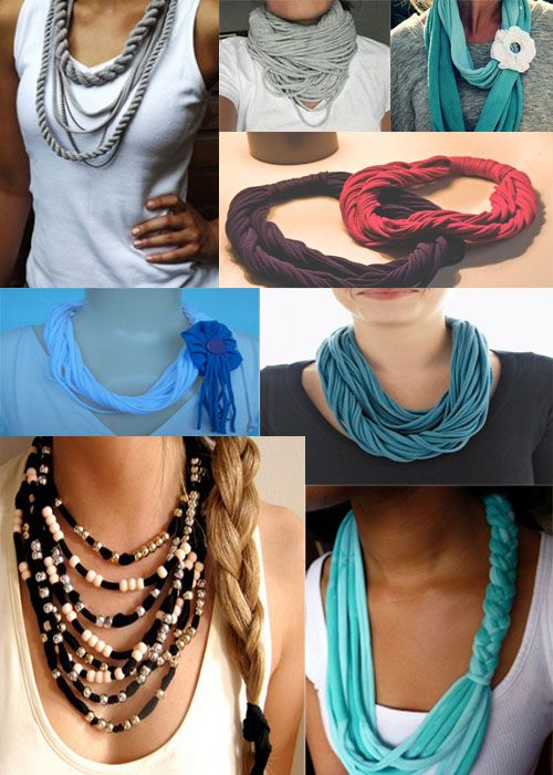 Fazer colares com tecido - http://www.espacomulher.org/fazer-colares-com-tecido/