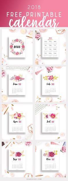 Free Printable 2018 Calendar - This beautiful flor…