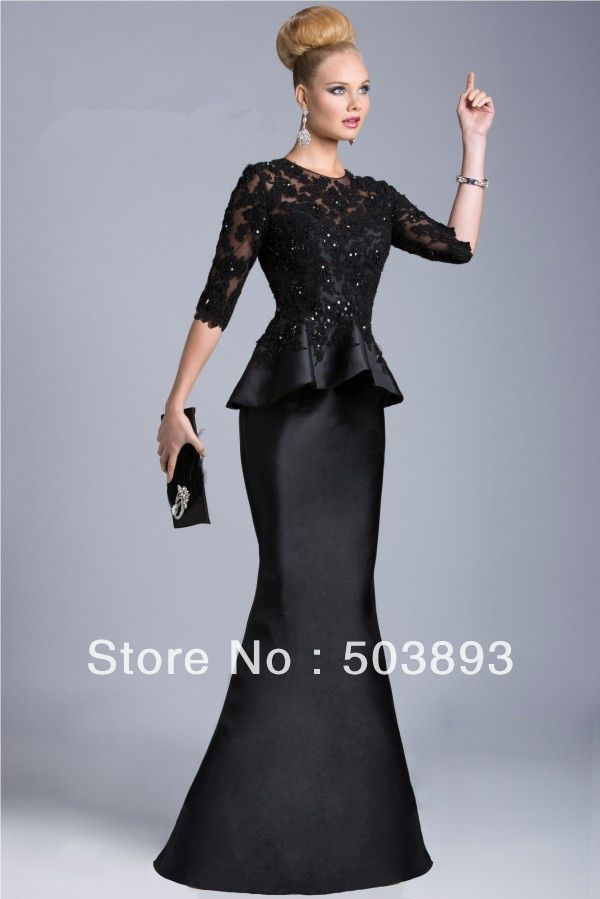 Free shipping sexy black evening long dress lace evening gowns 2014 formal evening gowns half sleeves evening dresses