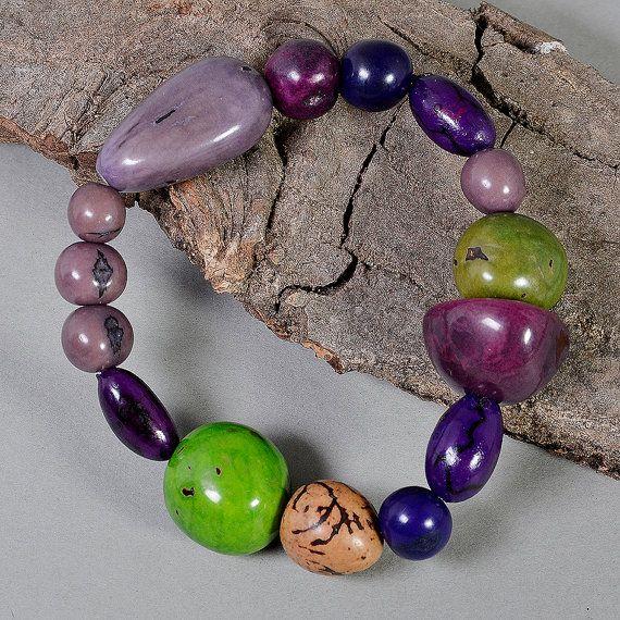 tagua bracelet purple bangle acai jewelry by ColorLatinoJewelry