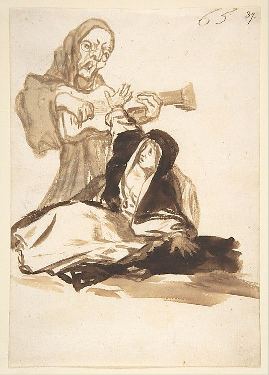Goya (Spanish, 1746–1828). A Nun Frightened by a Ghost; 1812–20. The Metropolitan Museum of Art, New York.