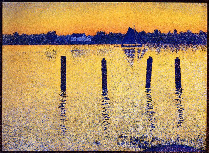 Théo van Rysselberghe - Sailboats on the River Scheldt (1892)