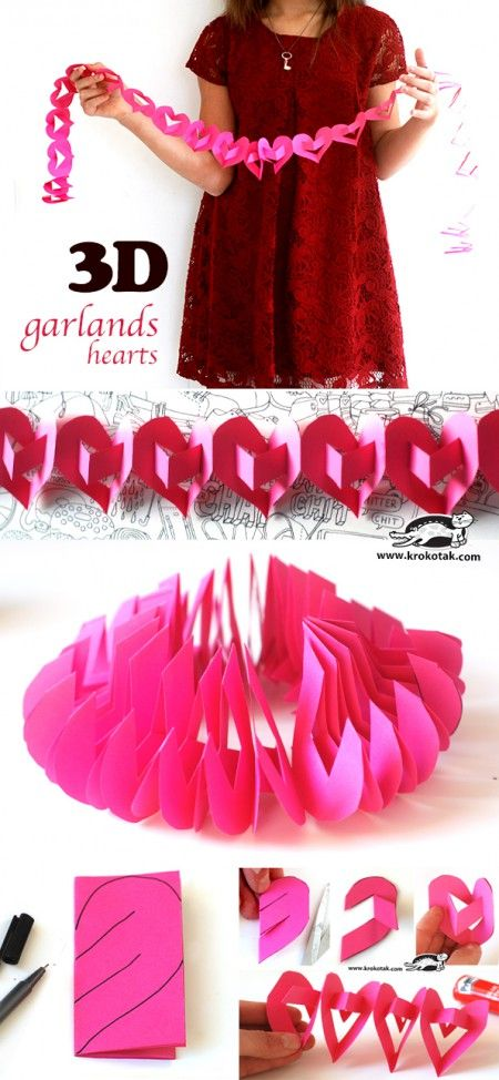 3D garlands-hearts